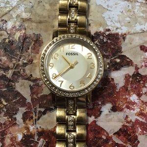 Fossil watch gold with white stone